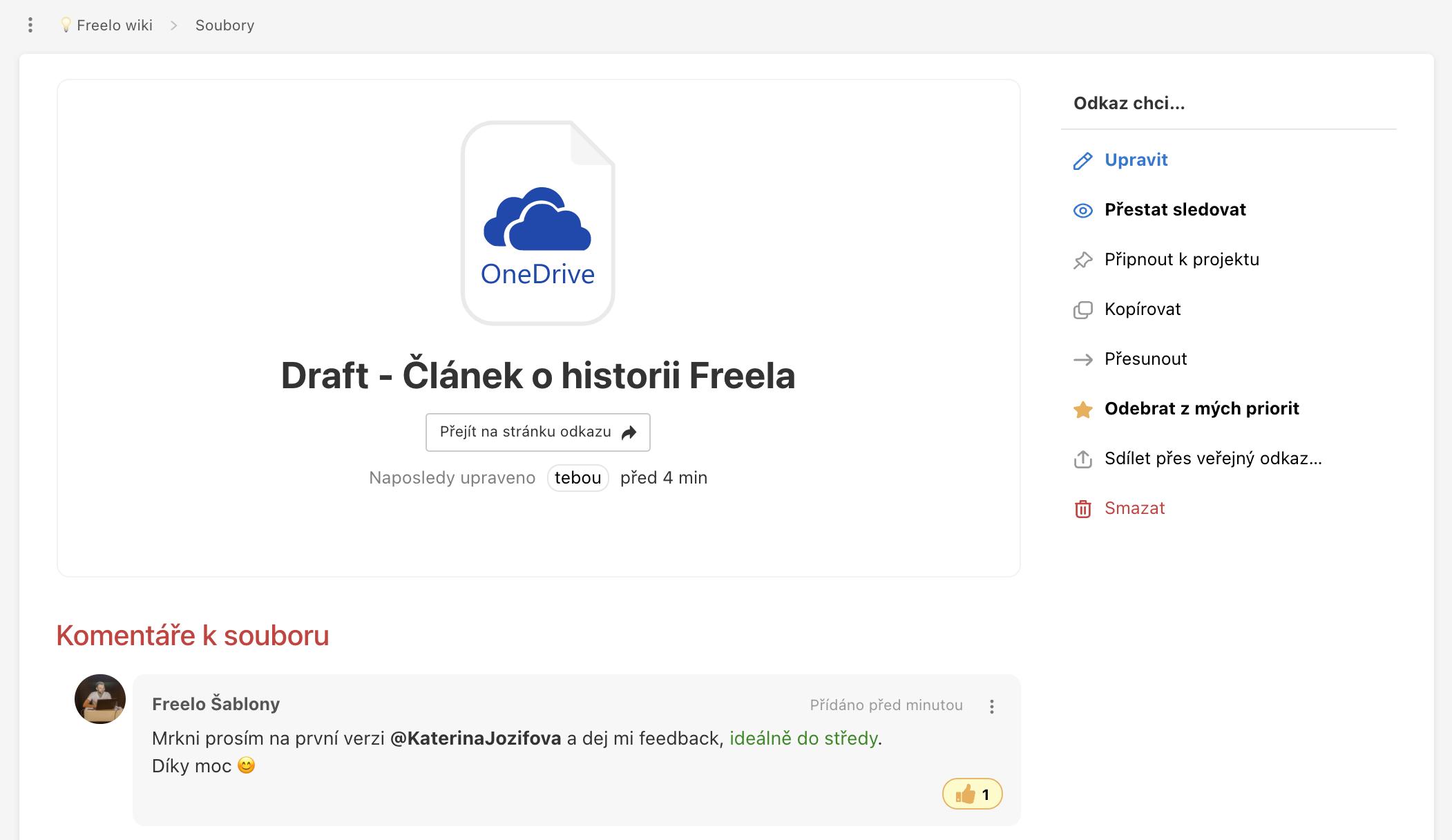 Ukázka detailu odkazu na soubor s komentářem z úložiště OneDrive.