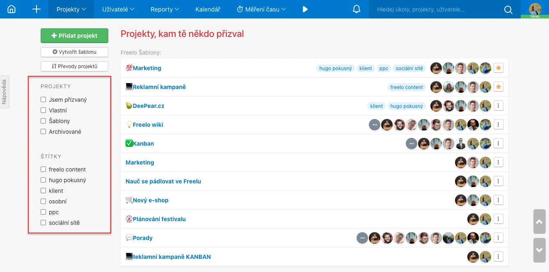 Ukázka možností filtrů na přehledu Všech projektů.
