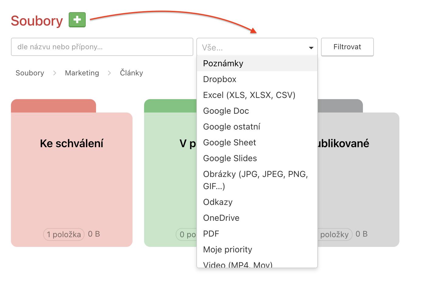 Ukázka možností filtrování souborů podle typu.