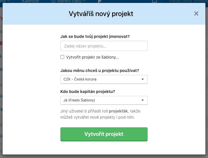 Formulář pro vytvoření nového projektu ve Freelu.