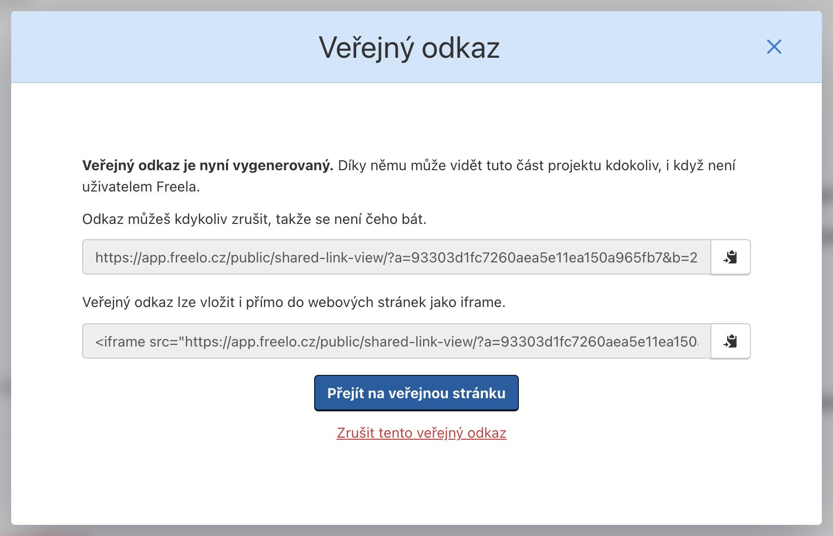 Ukázka formuláře pro vygenerování veřejného odkazu k souboru.