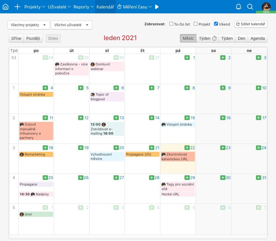 Ukázka kalendáře s naplánovanými úkoly.