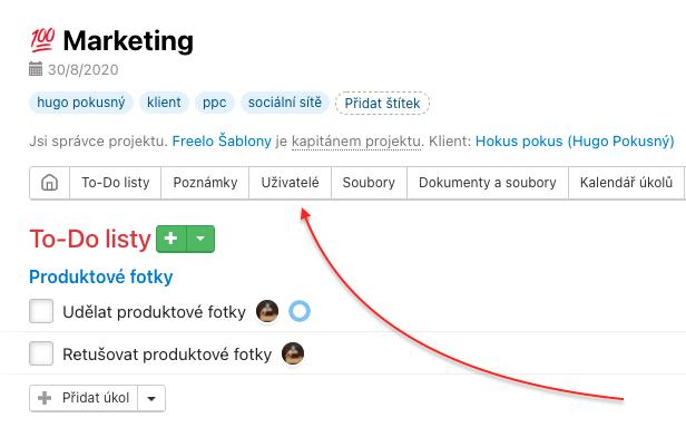 Oprávnění k To-Do listu nastavíš v sekci Uživatelé na konkrétním projektu.