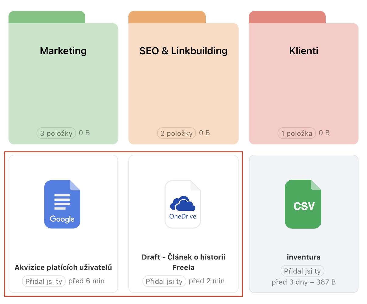 Ukázka sekce Souborů s přidanými odkazy na cloudové služby Google a OneDrive.