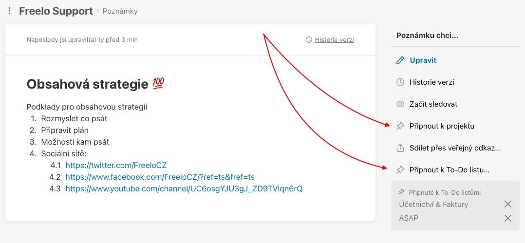 Ukázka, jak připnout poznámku k projektu nebo To-Do listu.