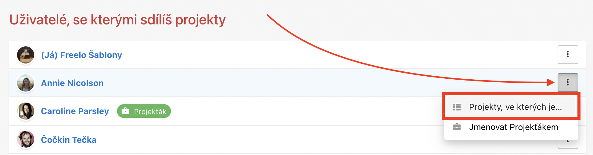 Ukázka, jak pozvat uživatele do projektu přes trojtečkové menu.