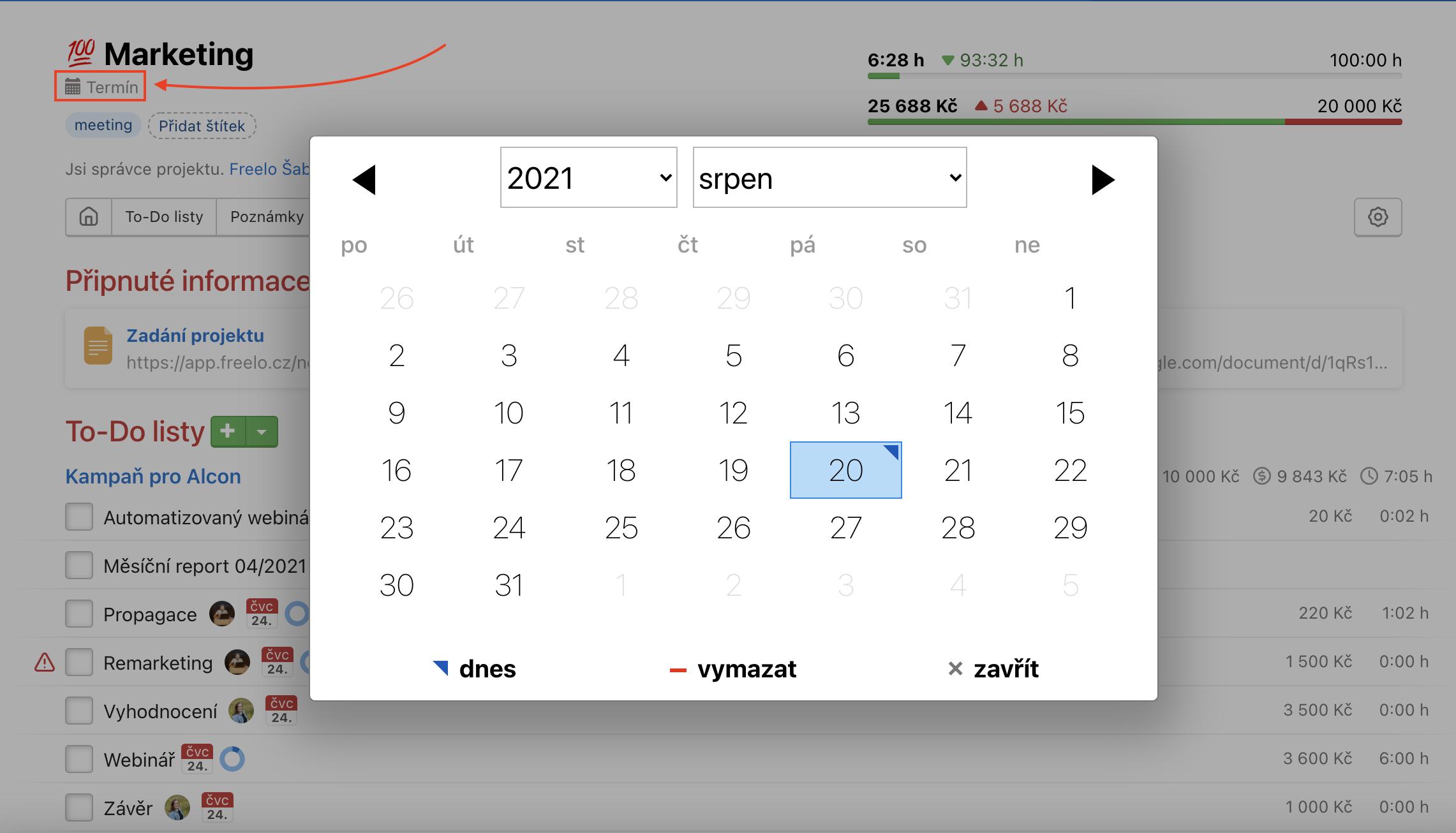 Klikni na termín a nějaký vyber z kalendáře.