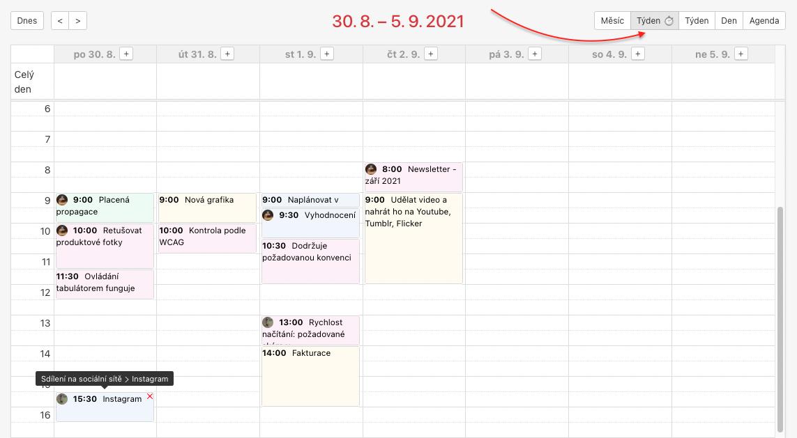 Ukázka týdenního pohledu kalendáře. U podúkolů se zobrazuje tooltip s nadřazeným úkolem.