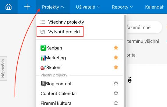 Založení projektu přes sekci Projekty.