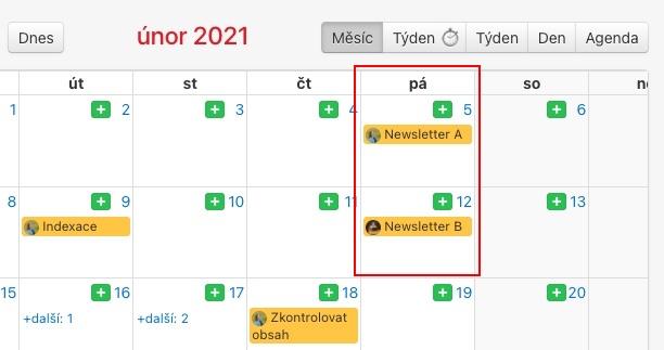 Naplánovaný opakovaný úkol v kalendáři.