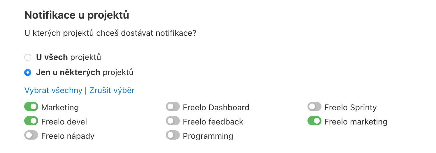 Notifikace u vybraných projektů