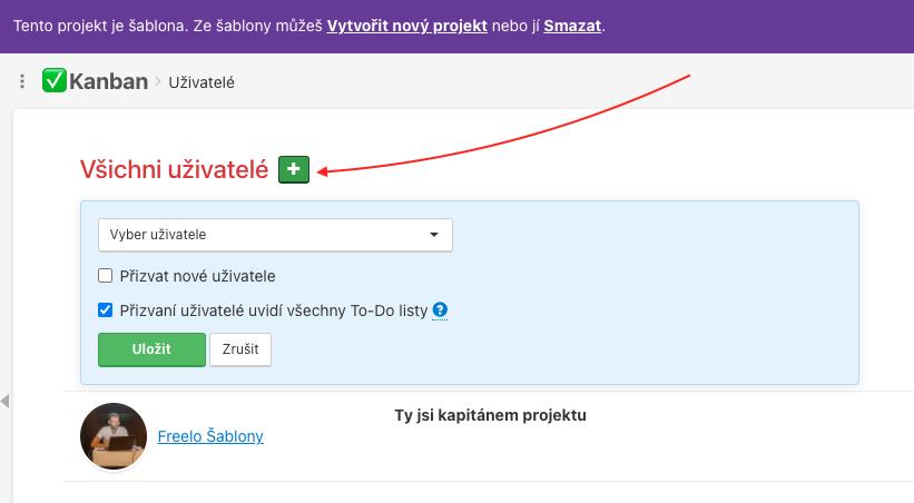 Jak přidat uživatele k šabloně projektu.