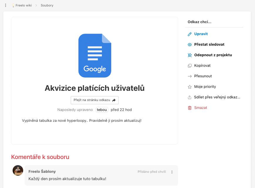 Odkaz na Google dokument v Souborech ve Freelu.