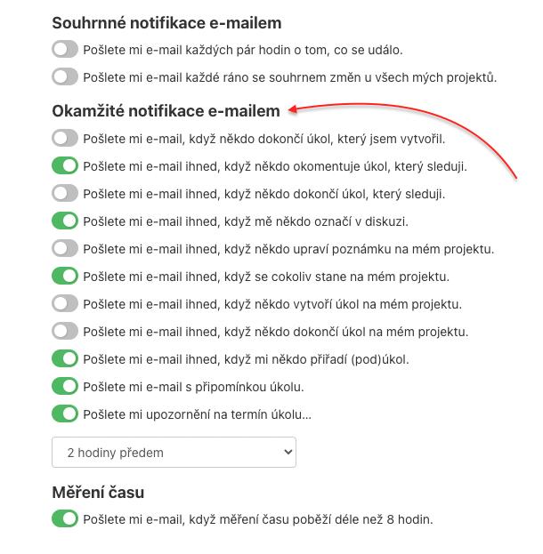 Ukázka možnosti k nastavení okamžitých e-mailových notifikací.