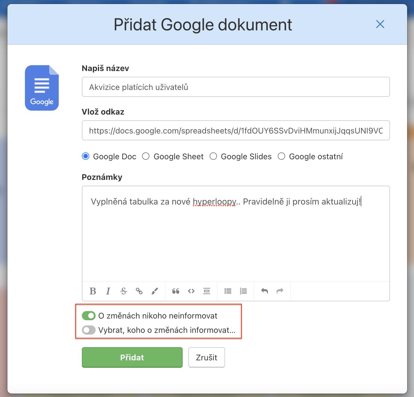 Formulář pro přidání Google dokumentu do Freela.