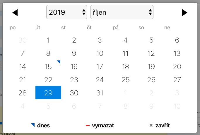 Vyber termín projektu z kalendáře.