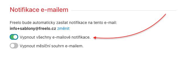 Ukázka jak vypnout všechny notifikační e-maily.