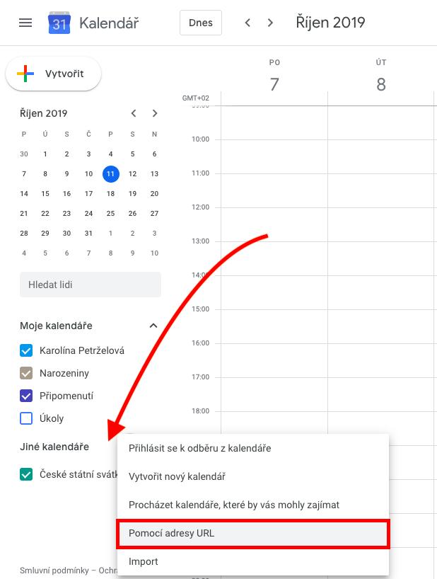 Import úkolů s termínem do Google kalendáře.