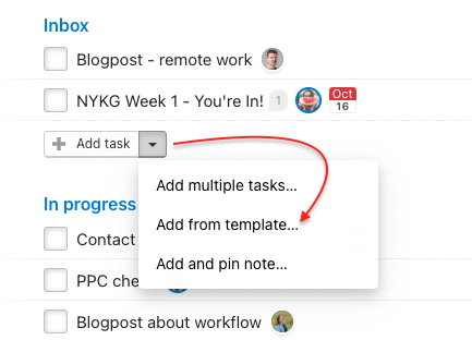 How to add tasks from template.