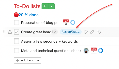 How to set a due date to an existing task.