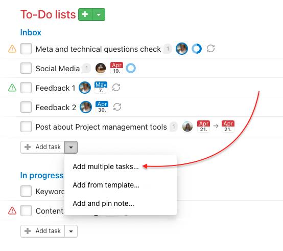 How to create tasks in bulk.