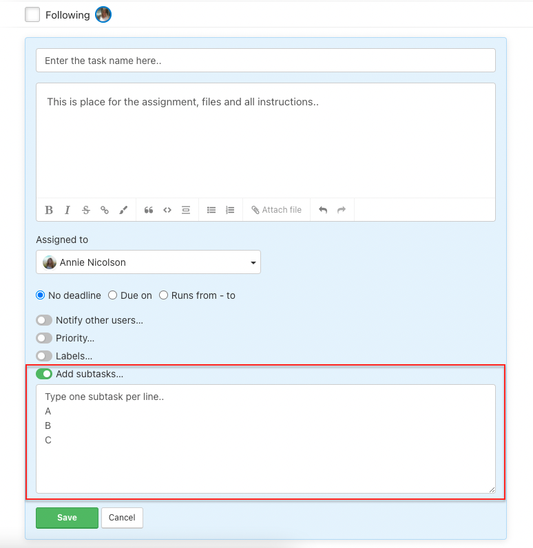 How to add subtasks when creating new task.