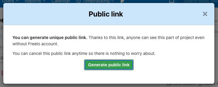 Confirm generating a public link.
