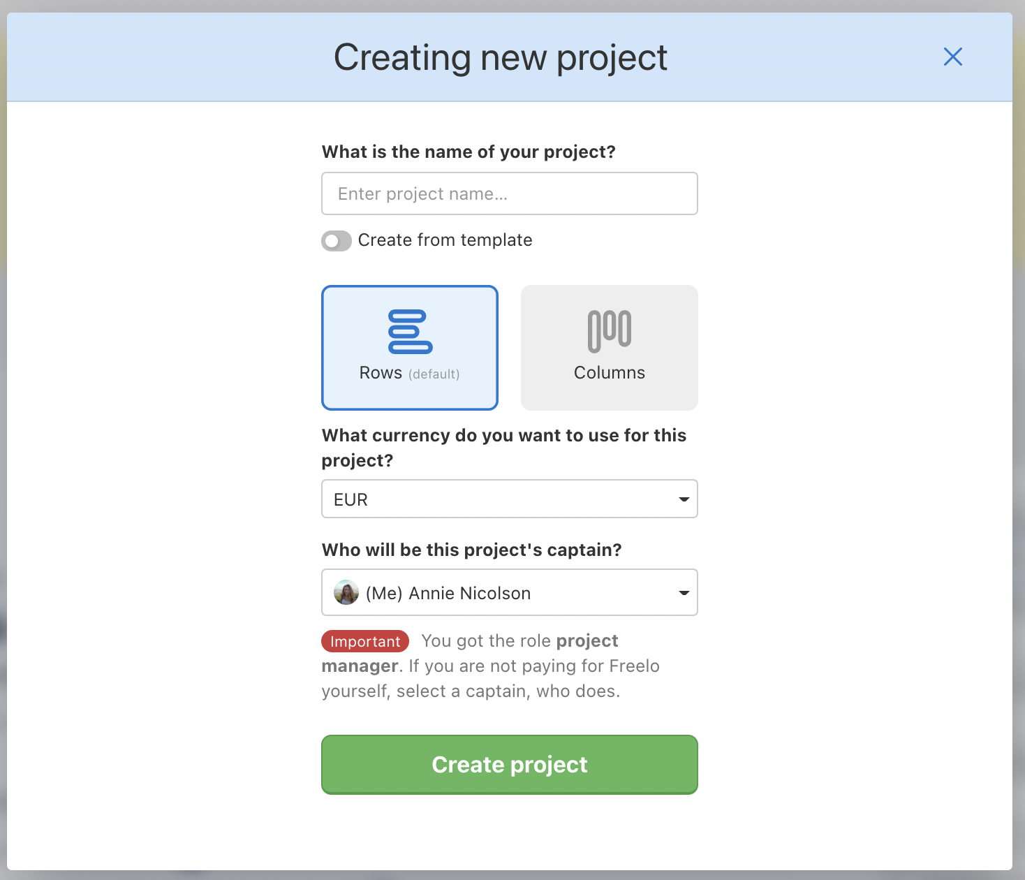 Form when creating a new project.