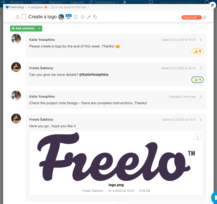 Overview of the discussion in Freelo.