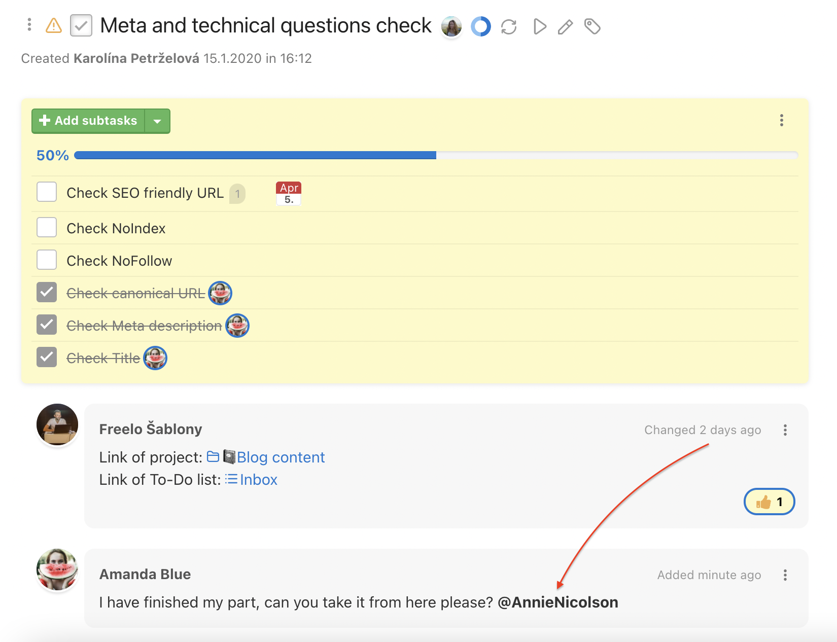 Example of discussion with mention.