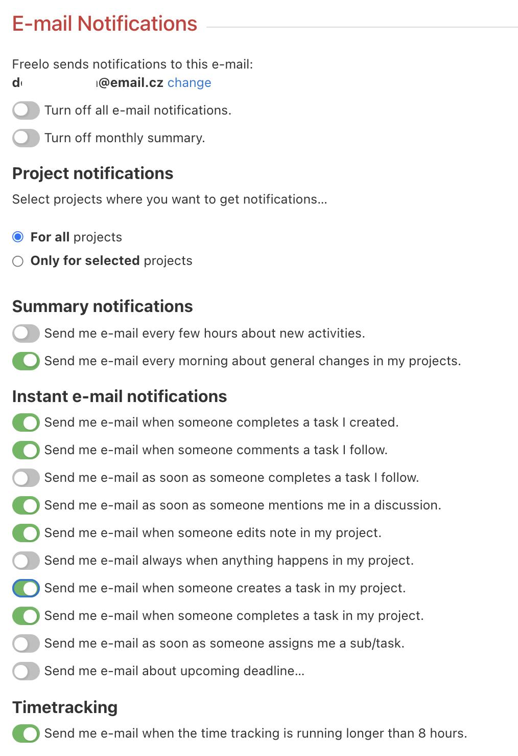 E-mail notification setup options.
