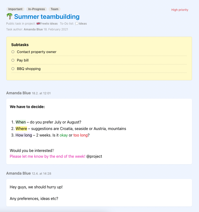 Example of generated public page for a task.
