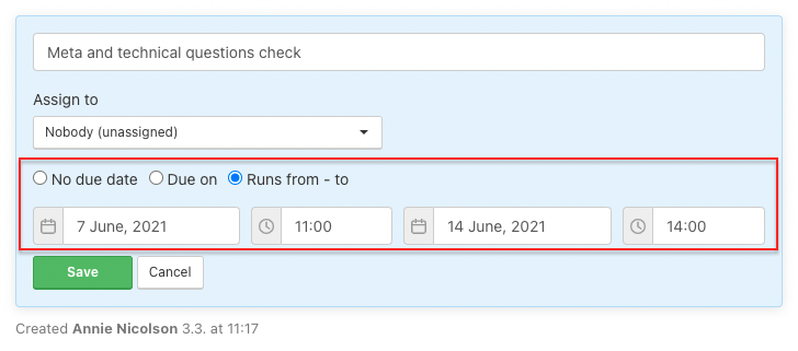 How to set up floating date of the task.