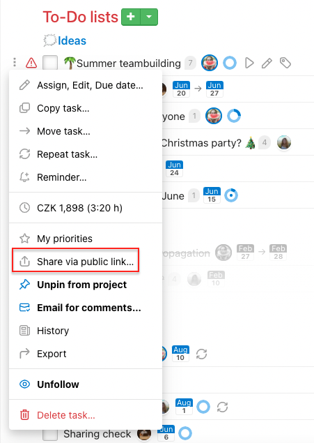 How to generate task public link on project detail.