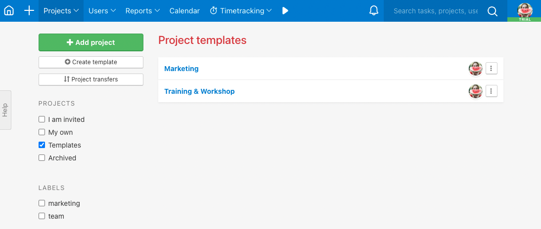 List of project templates in All projects.