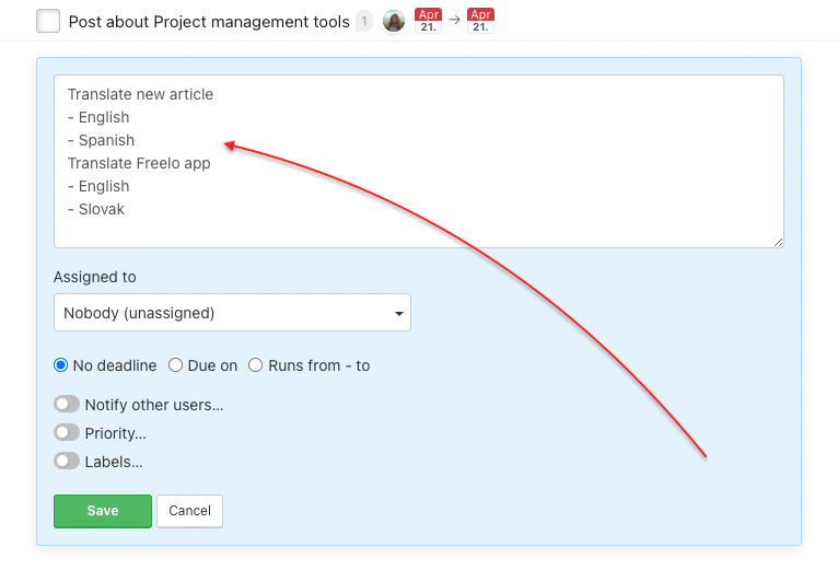 Example how to create tasks and subtasks in bulk.