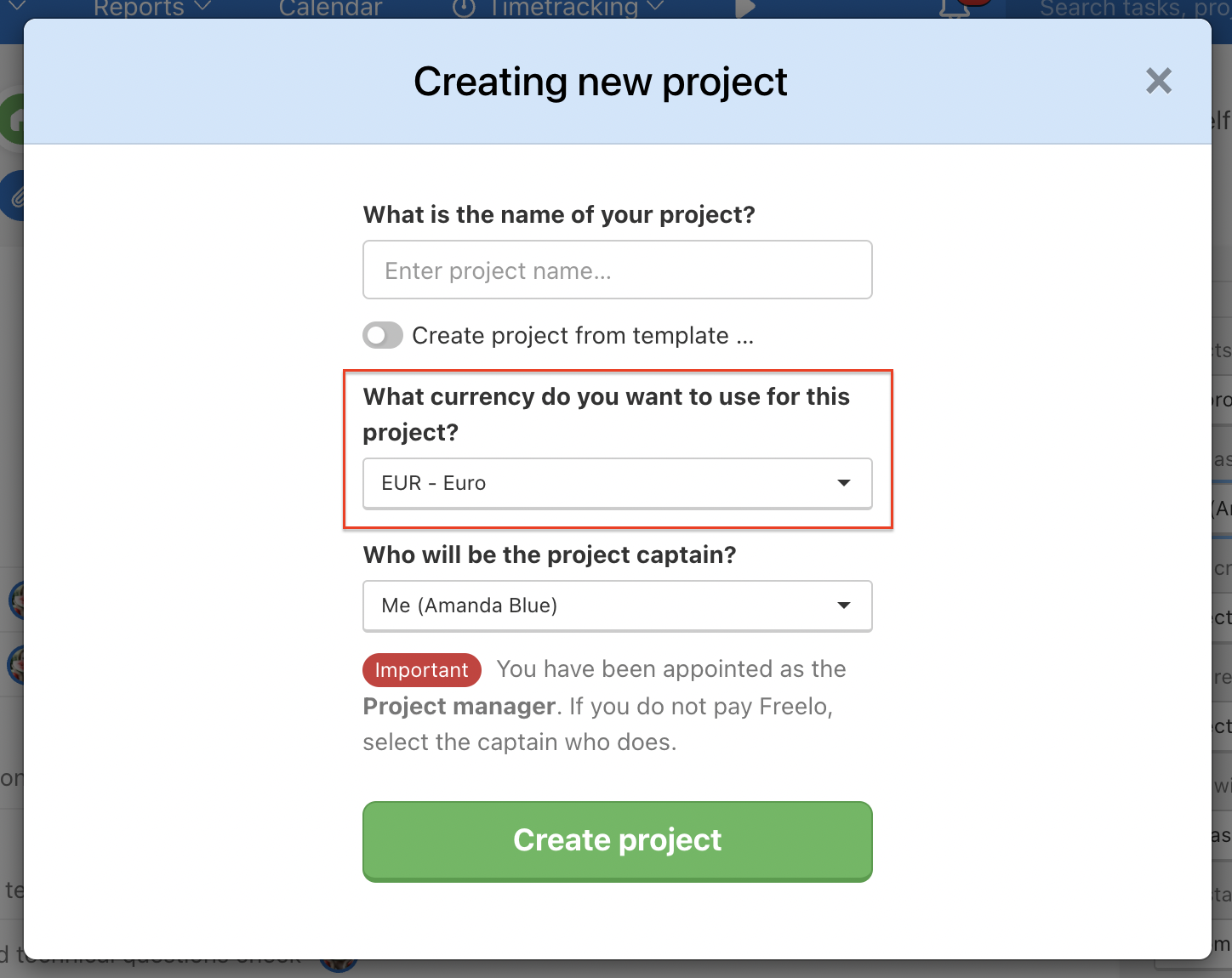 Select the correct currency for your project.