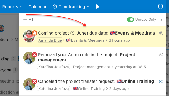 Notification in Freelo about upcoming project deadline.