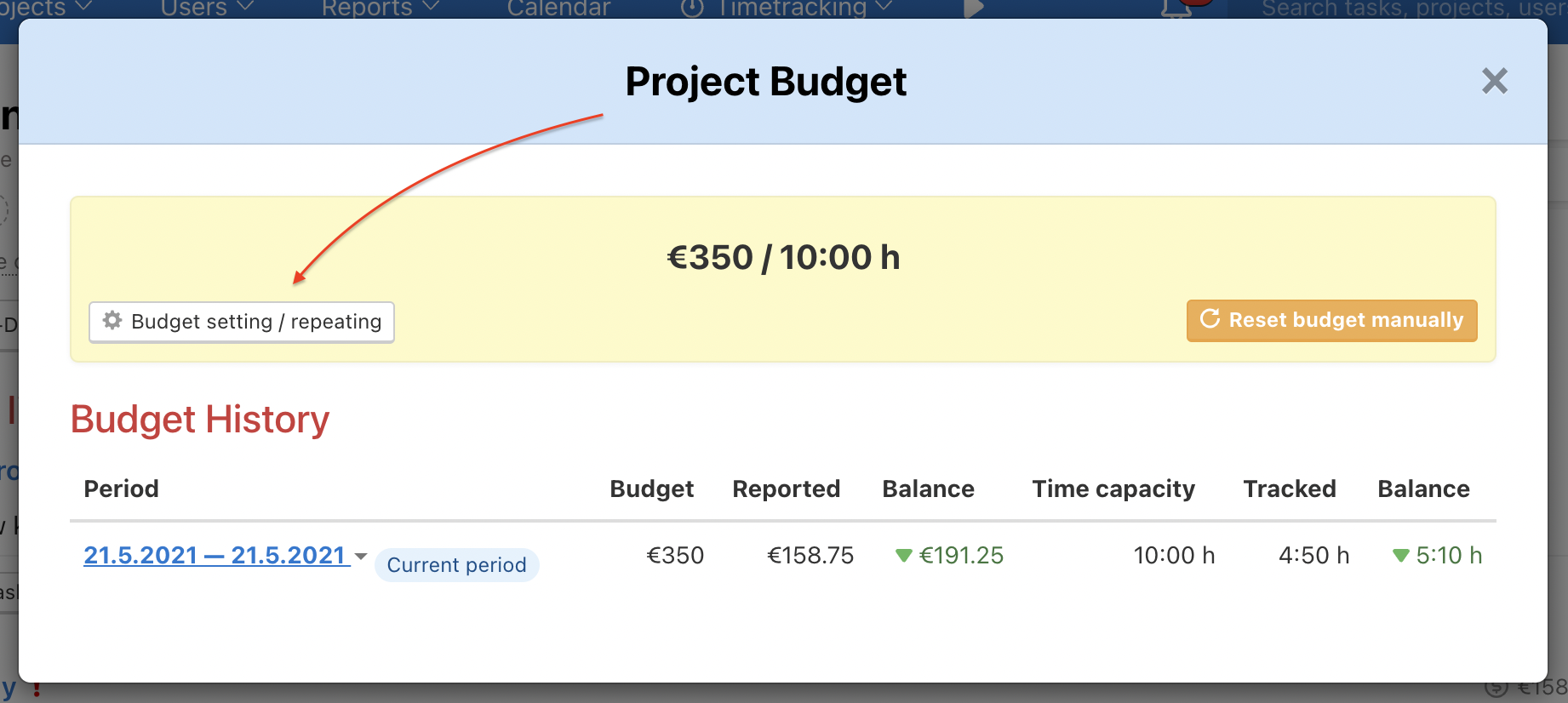 How to set repeated project budget.