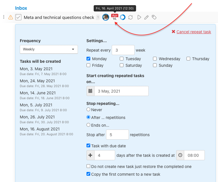 How to set up repeated task with due date for the current task.