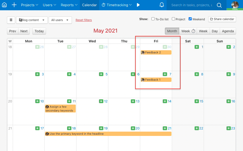 Example of repeated tasks visible in the Calendar.