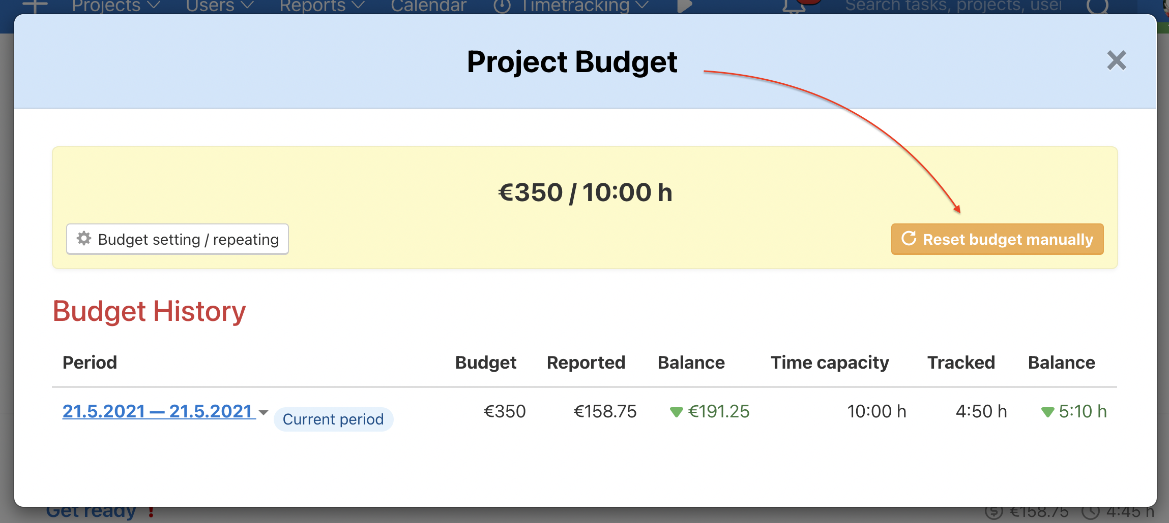 How to reset project budget manually.