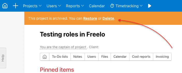 Decide whether you want to Restore or Delete archived project.