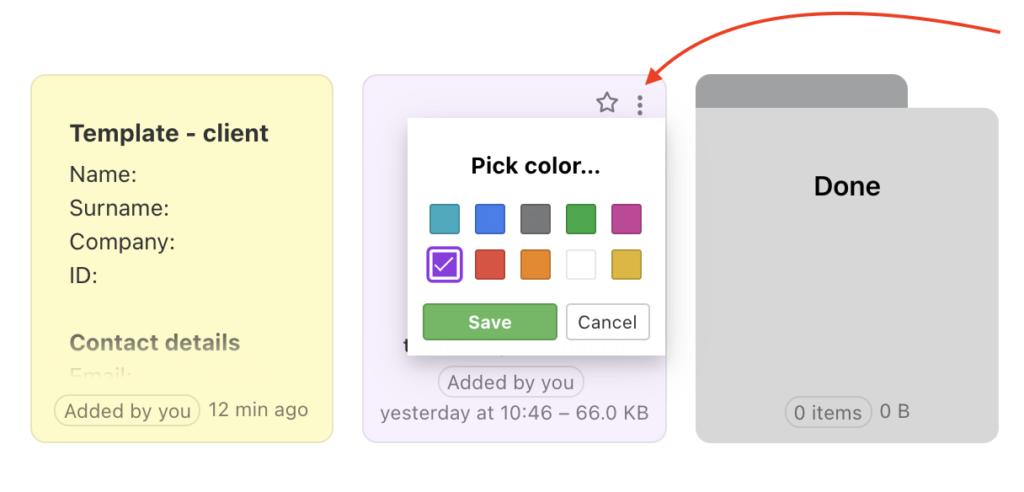 How to setup item color via three-dot menu.