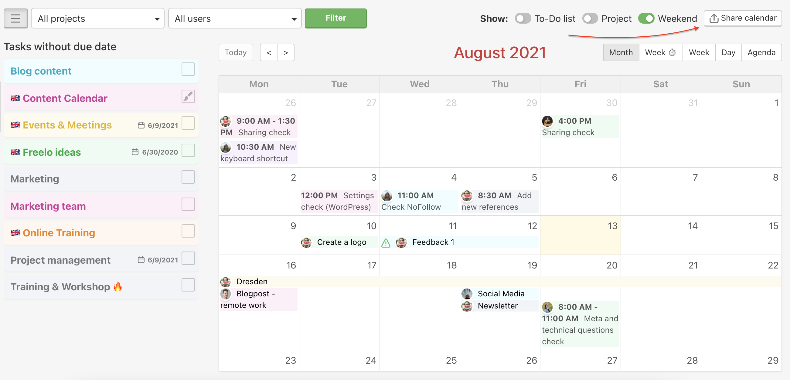 How to start sharing your Freelo calendar.