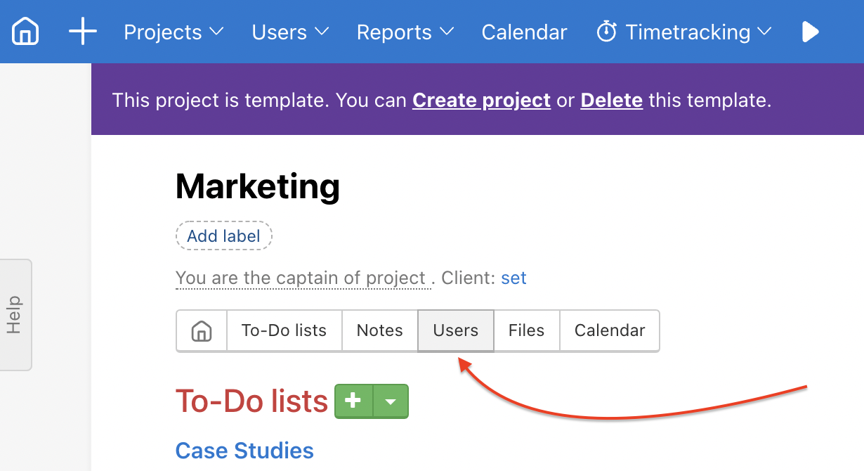 Click Users in the particular project template.