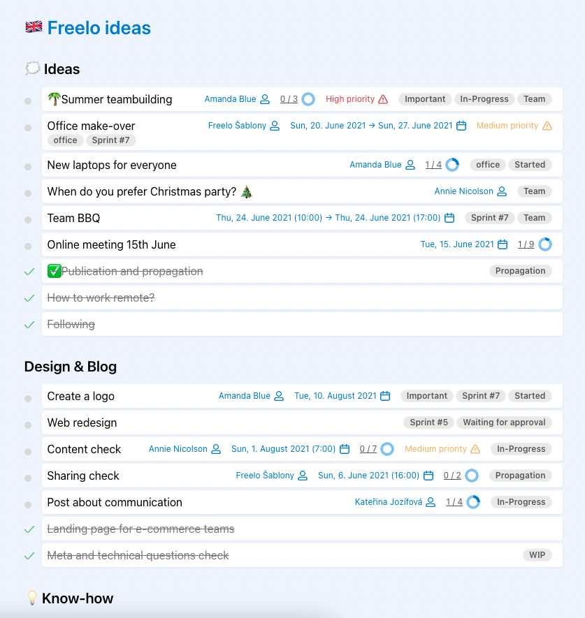 Example of public link for a project, with all To-Do lists and tasks.