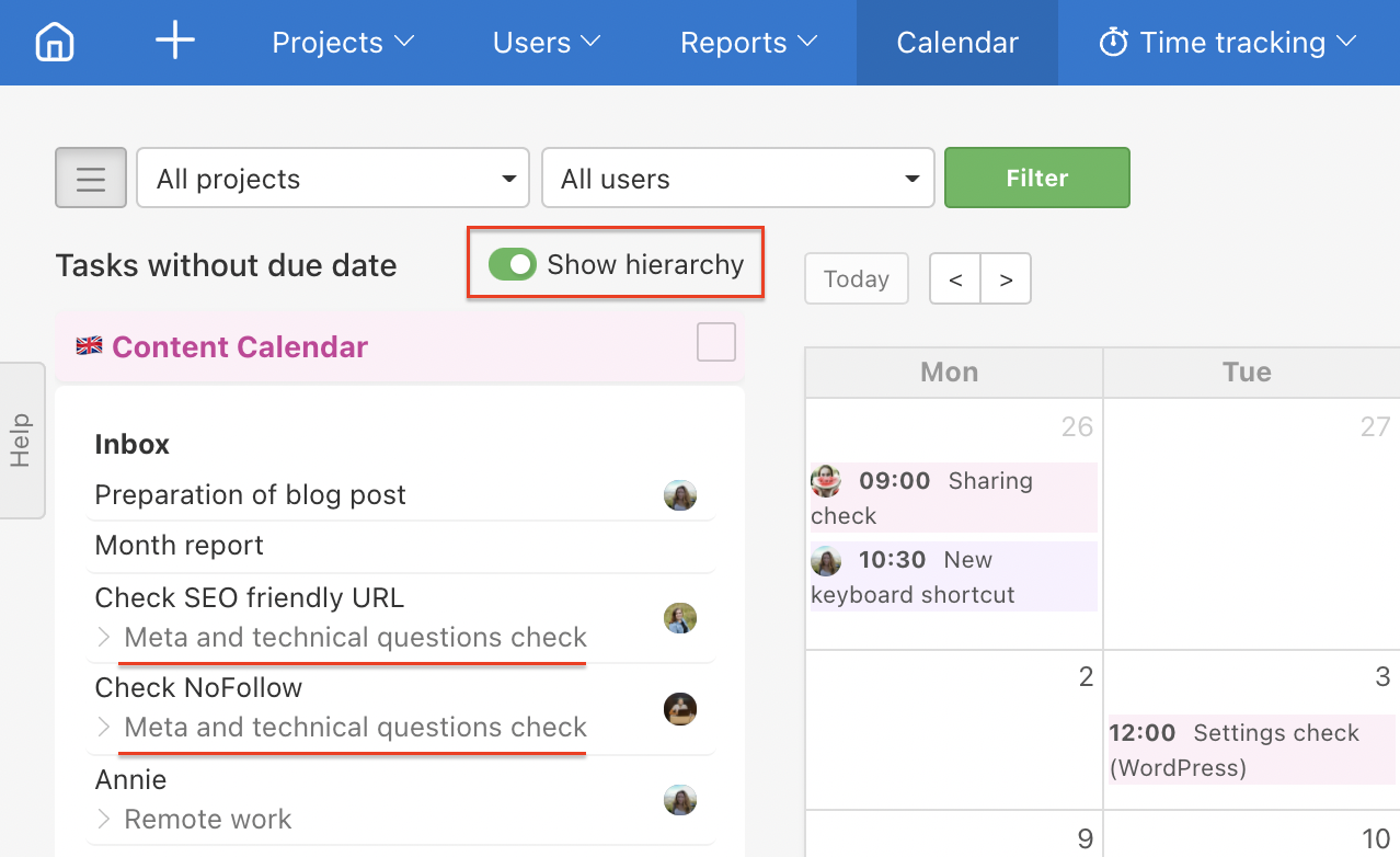 How to show parent tasks for subtasks in the Calendar.