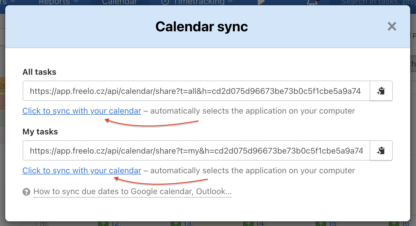 Choose which due dates you want to synchronize.