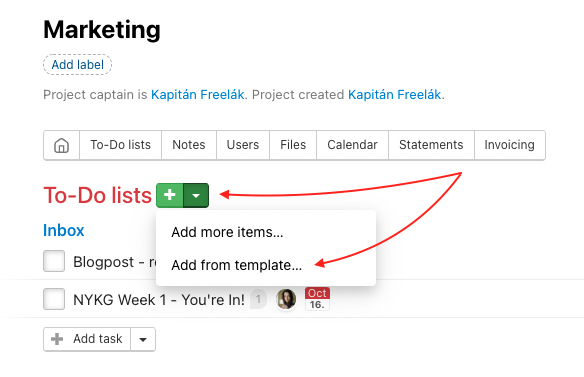 Add To-Do lists from a template via Add from template…